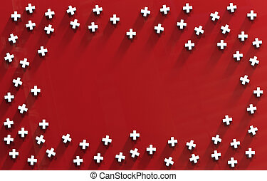 Group of Red Cross icon background. 3D rendering.