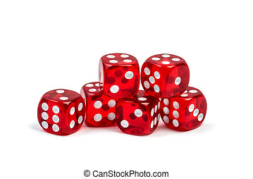 Group of red gambling casino dice isolated on white