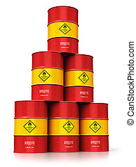 Group of red oil drums isolated on white background