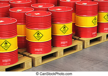 Group of red oil drums on shipping pallets in the storage warehouse