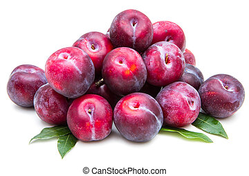 group of red plums on white background