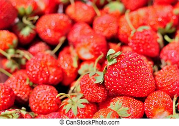 Group of red ripe strawberries