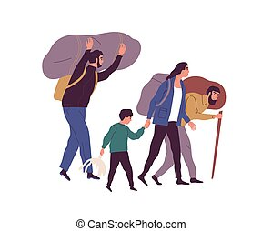 Group of refugee people carrying huge bags with things vector flat illustration. Man, woman and child illegal migrants escape together isolated on white. Evacuee person, victim of war and poverty.