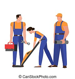 Group of repairman in the uniform. Technician occupation