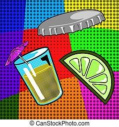 Group of retro comic objects - Retro comic soda, bottle tap,...