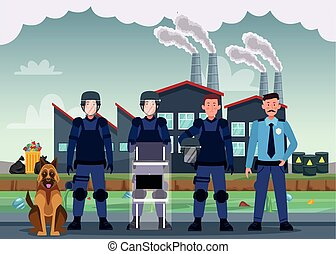 group of riot polices with uniforms and dog characters