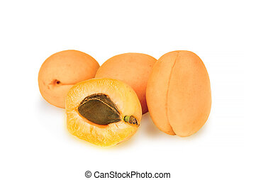 Group of ripe apricotes isolated with clipping path