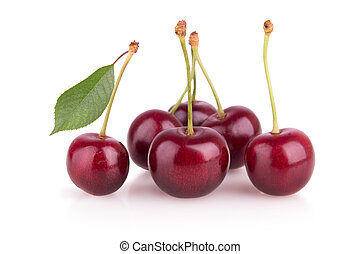 group of ripe cherries on a white background
