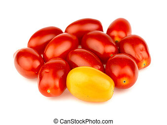 Group of ripe red and gold grape tomatoes isolated against white