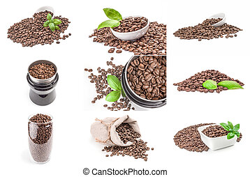 Group of roast coffee isolated on a white background with clipping path