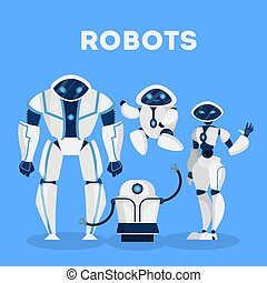 Group of robot character design. Artificial inteligence and ...