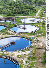 Group of round water treatment units in ab industrial factory
