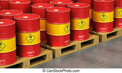 Group of rows of red stacked oil drums in storage warehouse...
