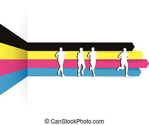 Group of runners go a cmyk backgrou