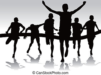 group of runners marathon silhouette