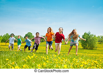 Group of running kids