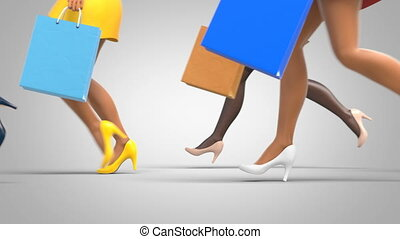 Group of Running Women with Shopping Bags, Beautiful 3d Animation on a Gray Gradient and Green Backgrounds. Seamless Loop Ultra HD 4K 3840x2160