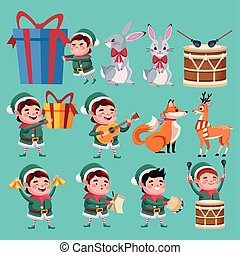 group of santa helpers characters with animals and instruments