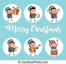 group of santa helpers characters with gifts and instruments
