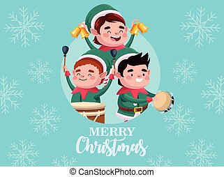 group of santa helpers playing instruments and bells