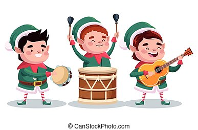 group of santa helpers playing instruments characters