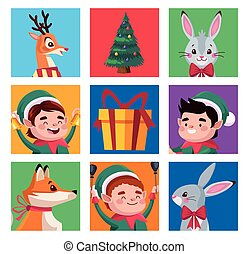 group of santa helpers with animals characters