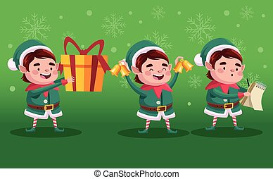 group of santa helpers with gift and bells characters