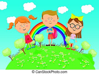 Group of school children standing on green earth with trees over rainbow