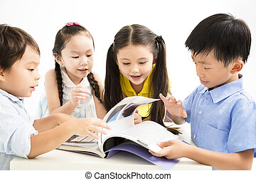 group of school kids studying together