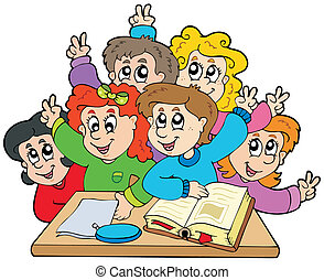 Group of school kids - vector illustration.
