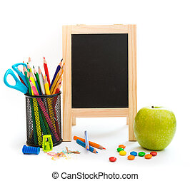 Group of school objects on a white background