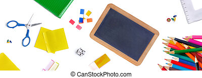 group of school supplies on white background concept back to school