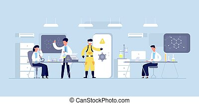Group of scientists conducting experiments in science laboratory. Chemical researchers working with lab equipment.