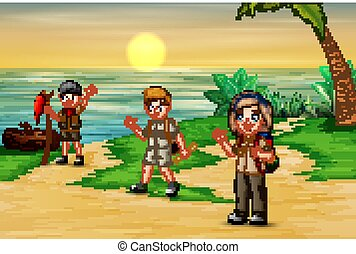 Group of scout on the beach background
