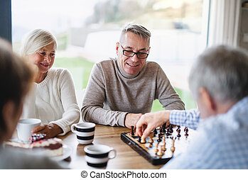 Group of senior friends at home, playing board games.