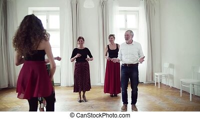 Group of senior people in dancing class with dance teacher....