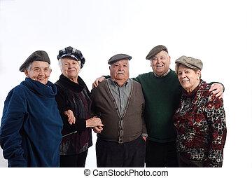 Group of senior people on white