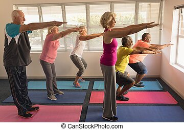 Group of senior people performing exercise at home - Side ...
