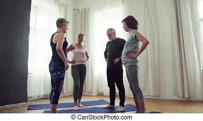 Group of senior people talking after doing exercise in...