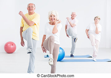 Group of seniors at the gym