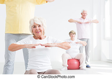 Group of seniors exercising