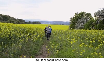 Group of seniors running outside in canola field. - Group of...