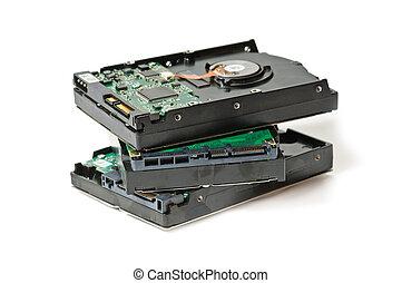 hard drive - group of serial ata (SATA) hard drive isolated...