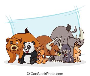group of seven animals comic cartoon characters