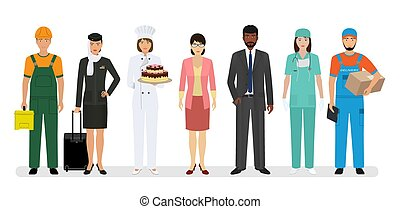 Group of seven people with different occupation including baker chief and nurse. Employment and labor day banner. Employee and workers characters standing together. Vector illustration.