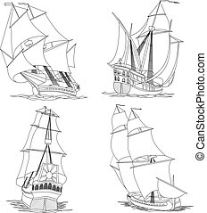Simple vector set of artistic illustrations: sailing ships of the 17th century painted lines.