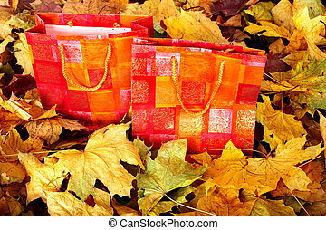 Group of shopping bag in fall foliage. Autumn holiday.