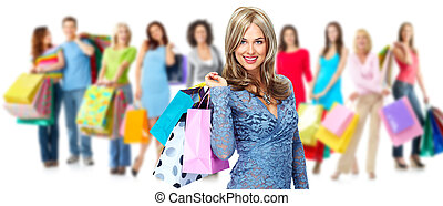 Group of shopping woman. Isolated on white background.