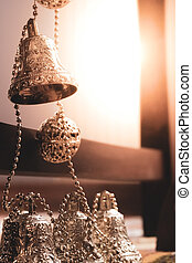 Group of silver bells for Christmas tree ornaments - Close ...