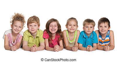 Group of six cheerful children